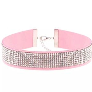 Jewelry - Pink Faux Suede Collar Choker with Rhinestone Band